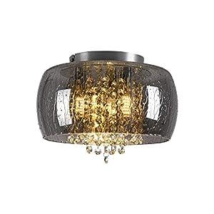 Flush Mount Chandeliers Black Drum Chandelier Glass Chandelier Crystal Ceiling Light 3 Light