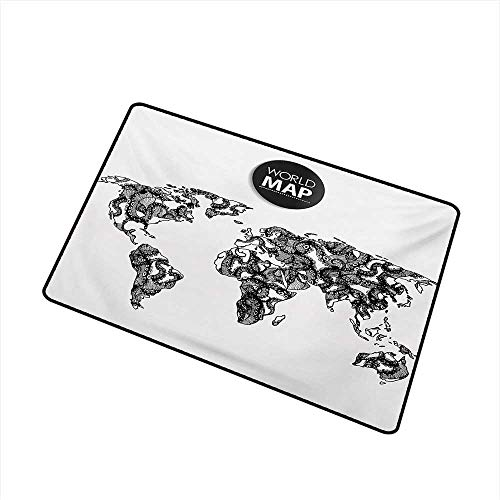 BeckyWCarr Wanderlust Commercial Grade Entrance mat Modern Elements of Infographics Octopus Animal and The World Map Communication for entrances, garages, patios W19.7 x L31.5 Inch,Black -