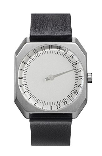 slow Jo 05 - Swiss Made one-hand 24 hour watch - Silver with black leather band