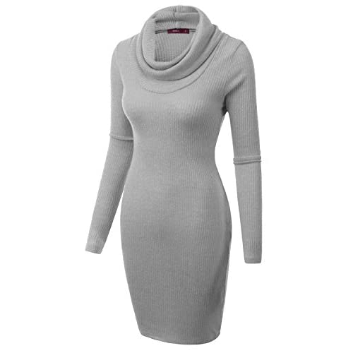 Doublju Cowl Neck Ribbed Knit Fitted Sweater Dress Plus Size