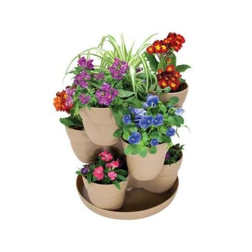 13 in. Resin 3-Tier Flower and Herb Tower Planter in Sand Finish