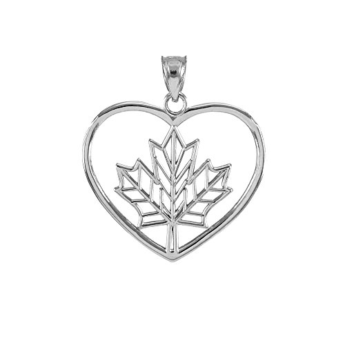 925 Sterling Silver Filigree Canadian Maple Leaf Open Heart Charm Pendant