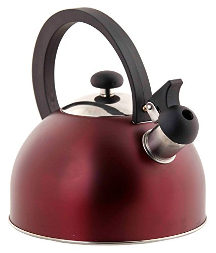 Classic Design Easy Open 2.5L Coated Steel Red Metallic Tea Kettle With Easy Grip and Heat Resistant Handle