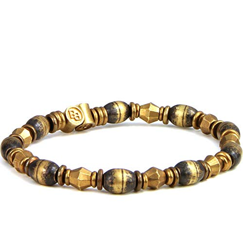 Brass Bicone - BeachBu Designer Jewelry The Stuart Bracelet - Oxidized Cat Eyes and Brass Bicones Stretch Cord 7-7.25 inches