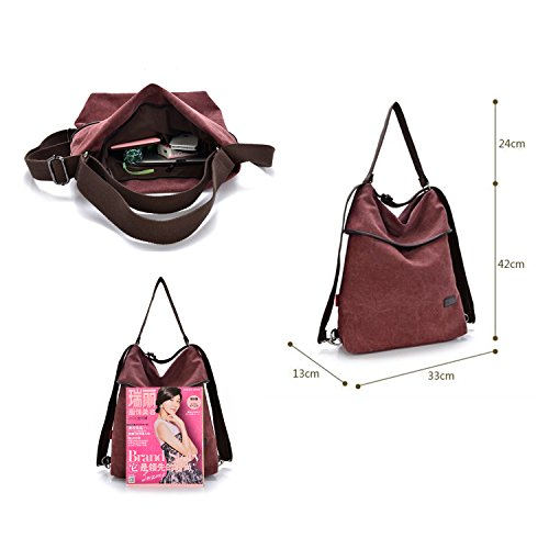 HongyuTing - Bolso mochila para mujer Rojo granate (Wine red) granate (Wine red)