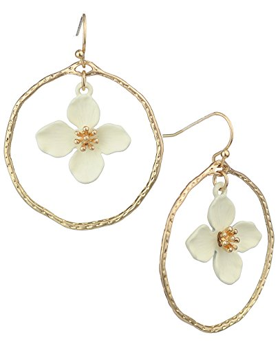 Hammered Round Hoop (Women's 33mm Hammered Round Hoop with Matte Flower Petal Dangle Pierced Earrings, White)
