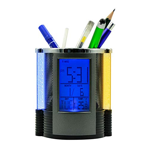 - Pen Holder for Student, Office, Desk Supplies Organizer Caddy with Alarm Clock, Calendar, Thermometer/Hygrometer, Led Light