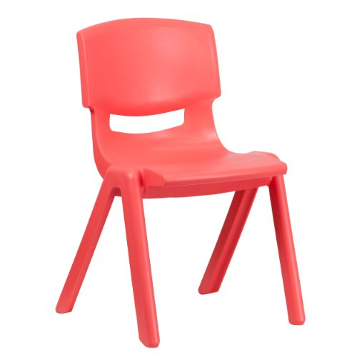 Flash Furniture 5 Pk. Red Plastic Stackable School Chair with 15.5 Seat Height