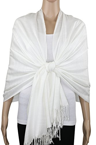 Achillea Bamboo Rayon Feel Soft Silky Pashmina Solid Shawl Wrap Scarf (Ivory) (Wrap Bamboo)
