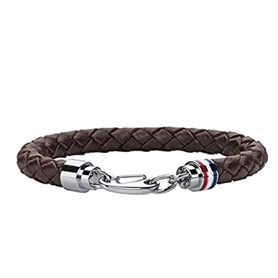 Tommy Hilfiger Men\u0027s Brown Braided Leather Bracelet Stainless,Steel Closure