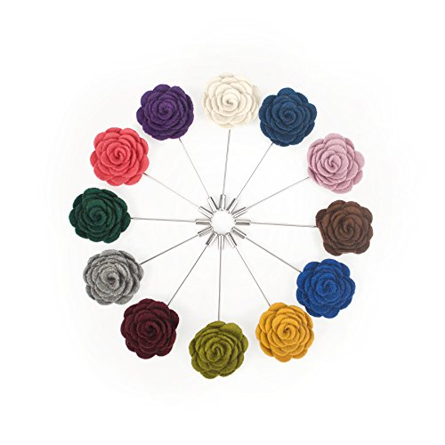 TopTie Lapel Pin Flower Boutonniere for Suit Rose for Wedding (Pack of 12)-set2 ()