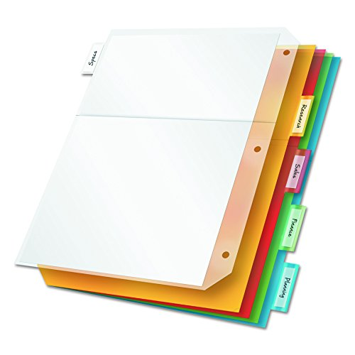 - Cardinal Ring Binder Divider Pockets with Index Tabs, Letter Size, Assorted Colors, 5 per Pack (84009)