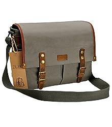 Canvas Camera Bag Zlyc Leather Trim Camera Case Waterproof Dslr Pouch Vintage Laptop Messenger Shoulder Purse For Women Men Gray