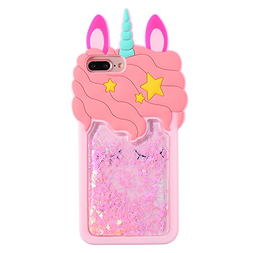 Character Case (Mulafnxal Quicksand Unicorn Case for iPhone 7 8 Plus +,Soft Silicone 3D Cartoon Animal Cover,Kids Girls Cute Cool Bling Glitter Rubber Kawaii Character Fashion Cases Skin Protector for iPhone7 8Plus)