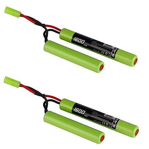 2-Pack 2/3A Cells 8.4v 1600mAh Butterfly NunChuck NIMH Battery Pack for Mini AK Series Airsoft AEG Guns