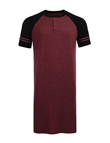 Aimado Mens Henly Sleep Shirt Knit Cotton Nightgown Long Sleeve Nightwear (Wine Red, XXXL)