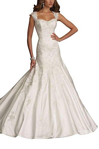 Lang Weiß Hochzeitskleider GEORGE Brautkleider Meerjungfrau Luxury Spitze BRIDE Neckholder Tuell UUAPwvZq