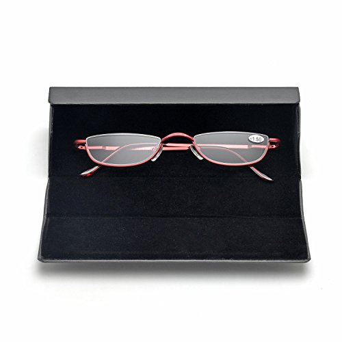 ZUVGEES Vintage Alloy Semi Rimless Reading Glasses Men Women Half Frame Slim Glasses with Stylish Case (Red, 1.50)