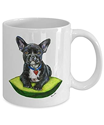 Black French Bulldog on Cushion Mug - Style No.9 - YELLOW - Cute Ceramic Frenchie Coffee Cup (11oz)
