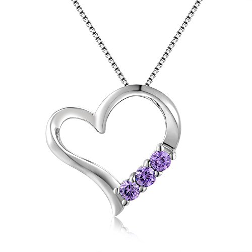 Amazon #LightningDeal 95% claimed: 925 Sterling Silver Triple Purple CZ On Side Heart Pendant Necklace (16 Inches)