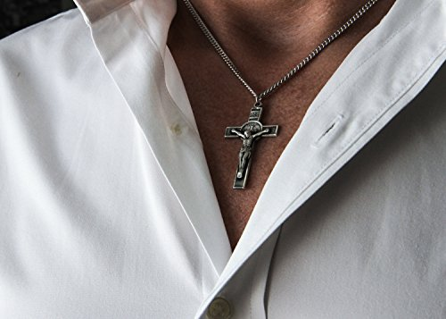 Mens sterling silver st benedict crucifix pendant 24 17mm inch mens sterling silver st benedict crucifix pendant 24 17mm inch sterling silver chain clasp aloadofball Images