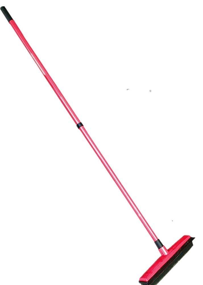 Push Broom Long Handle Rubber Bristles Sweeper Scratch Free Bristle Broom for Pet Cat Dog Hair Carpet Hardwood Tile Windows Clean Water Resistant (Color : Red)