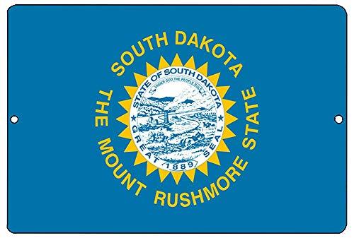 (Lilyanaen New Tin Sign South Dakota State Flag Metal Tin Sign Wall Decor Man Cave Bar SD for Outdoor & Indoor 8