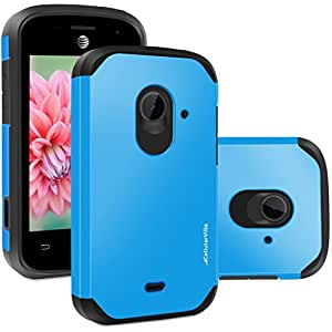 ZTE Zinger Case, Cellularvilla [Hybrid] [Rugged] Dual Layer Armor Protector Case [Heavy Duty] Shockproof Case For ZTE Z667 (AT&T) ZTE Zinger (T-Mobile) ZTE Whirl 2 / ZTE Prelude 2 (Royal Blue Black)