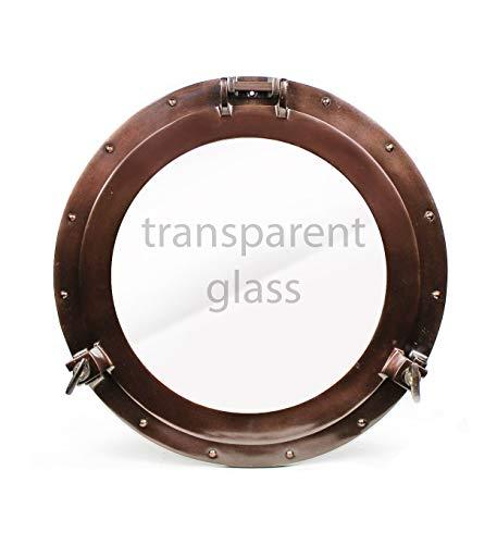 Nagina International Antique Coke Copper Wall Mounted Nautical Premium Aluminum Vintage Mirror | Ship's Porthole Window | Pirate's Maritime Nautical Themed Decor (15 Inches, Light Antique Window) ()