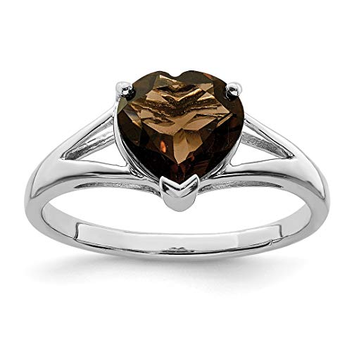 925 Sterling Silver Smoky Quartz Band Ring Size 6.00 S/love Gemstone Fine Jewelry For Women Gift Set (Oval Quartz Faceted Ring Smoky)