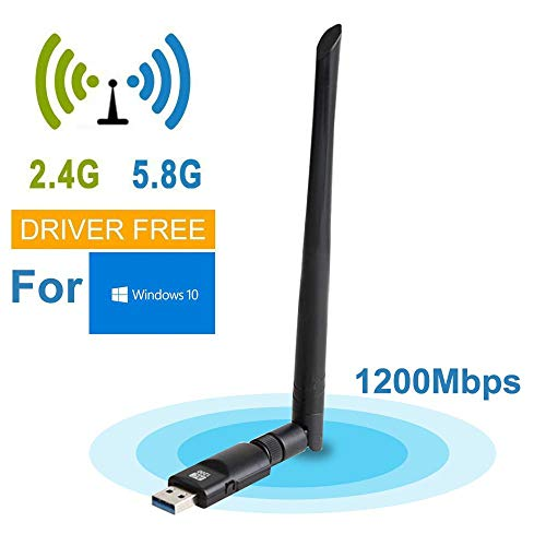 KOBWA AC1200 Mbps USB 3.0 Adaptador inalámbrico, Doble Banda 2,4 G 300 M/5 G 867 M Red inalámbrica WiFi Dongle con Antena...