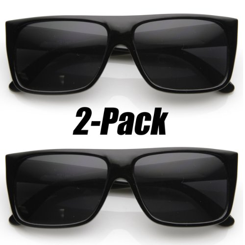 Classic Old School Eazy E Square Flat Top OG Loc Sunglasses (2-Pack Black)