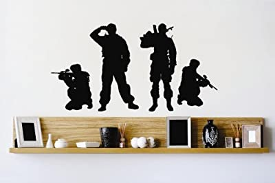 Vinyl Wall Decal Sticker : Army Soldiers Men Fighting Combat War Guns Bedroom Bathroom Living Room Picture Art Peel & Stick Mural - Discounted Sale Price Size: : 10 Inches X 20 Inches - 22 Colors Available