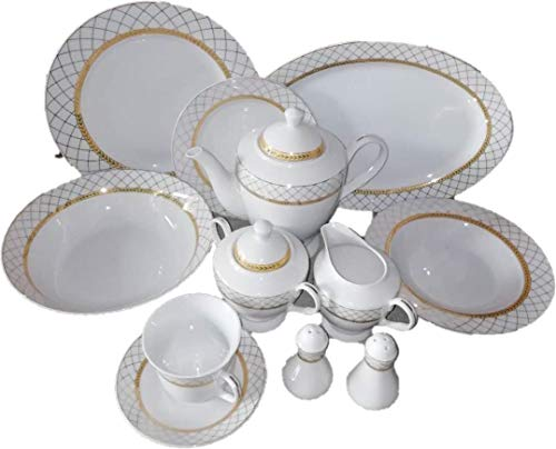 49 pcs Gold Net Design Dinner Set, Service for 8 Person