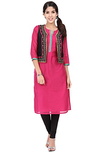 In-Sattva ethnicity Women's Indian Traditional Kurta Tunic With Vest; SM; Pink by In-Sattva