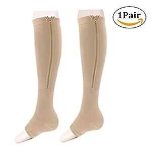 STEVE YIWU Compression Socks Toe Open Leg Support Stocking Zipper Design Men Women (L/XL, Skin color)
