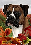 "Boxer Fawn Uncropped Dog Tamara Burnett Fall Leaves Garden Dog Breed Flag 28"" x 40"""