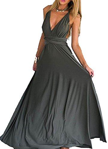 Choies Women's Infinity Dress Gray Multi-Way Strap Wrap Convertible Maxi Dress S