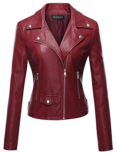 Tanming Women's Long Sleeve Zipper Fuax Leather Jacket Coat (Medium, Red Rock)