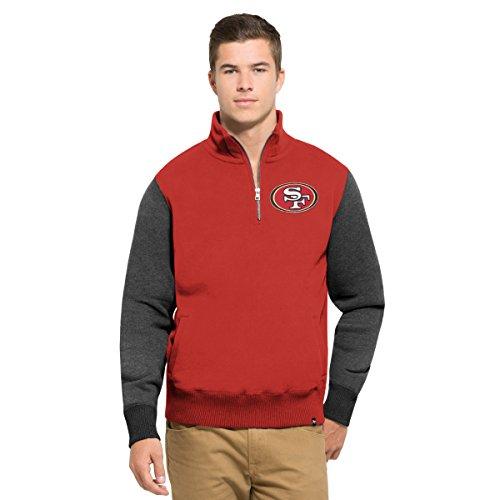 ('47 NFL San Francisco 49ers Men's Triple Coverage 1/4-Zip Pullover Fleece, Medium, Rescue Red)