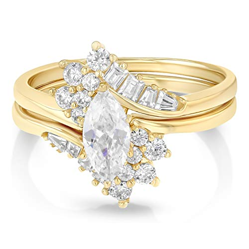 Ioka - 14K Solid Yellow Gold 0.5 Ct. Marquise Cut CZ Wedding Engagement Ring 2 Piece Bridal Set - Size ()