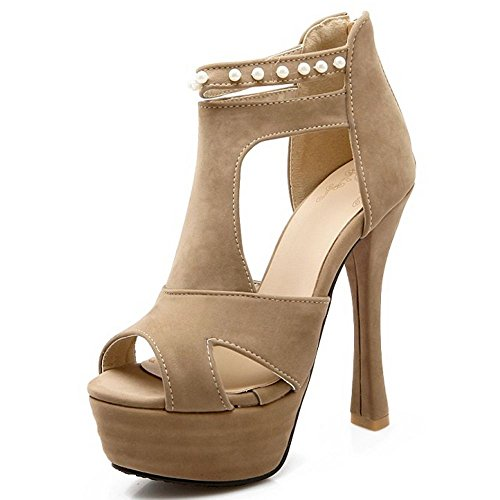 Peep Toe Strappy LongFengMa High Sandals Zipper Ivory Heel Platform Women Sexy RAqqIX
