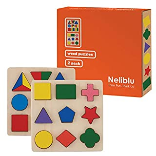 Neliblu Wood Shape Puzzle for Toddlers and Babies - Set of 2 Assorted Shapes and Colors - Safe Non Toxic and Vibrant Colors That Little Kids Love