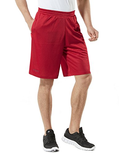 Red Training Shorts (TM-MBS02-RED_Medium Tesla Men's Cool Mesh Basketball Shorts Smooth HyperDri With Pockets MBS02)