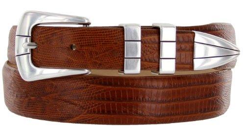 [Vince Italian Calfskin Leather Designer Golf Dress Belt for Men (38, Lizard Tan)] (Calfskin Belt Strap)