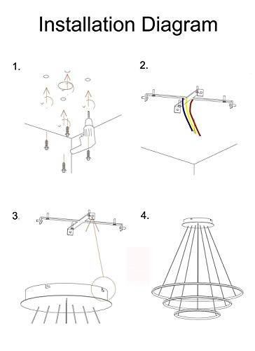 SISHUINIANHUA Modern Circular Led Chandelier Adjustable Hanging Light Three Ring Collection Contemporary Ceiling Pendant Light