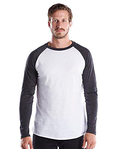 US Blanks Men's Premium 3/4 Sleeve Baseball Raglan M White/Heather Charcoal, Made In (Premium Raglan)
