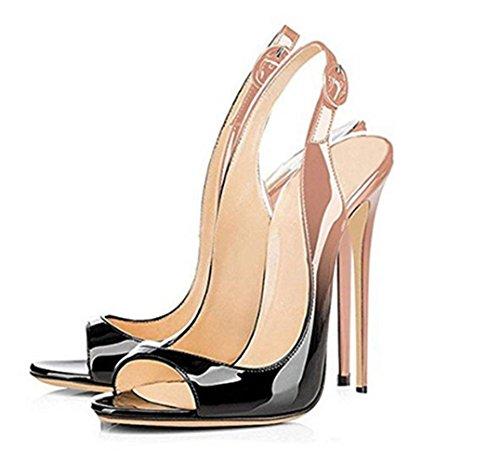 SZXC Mujer Zapatos De TacóN De Aguja Con Hebilla De La Correa Del Tobillo Del Dedo Del Pie Del PíO Sandalias Slingback , apricot , 36