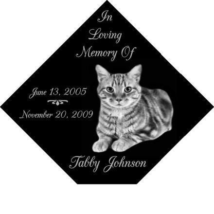 6 x 6 Lazer Gifts Personalized Black Granite Pet Memorial Marker Style (Pet Art Personalized)