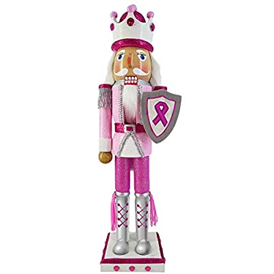 Christmas Nutcracker Figure King Pink Breast Cancer Support Sparkle Glitter And Rhinestones 15 Inch Exclusive